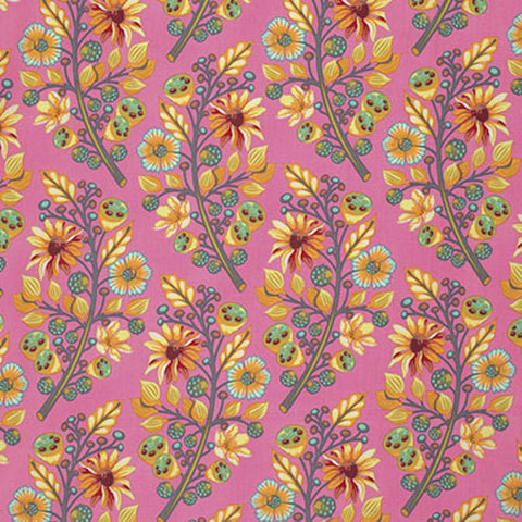 "Tula Pink PWTP056 Moonshine Sprout Blush Pink Quilting 18"" BTHY Rowan Westminster Half Yard Quilt Fabric Modern Floral Moon Shine"