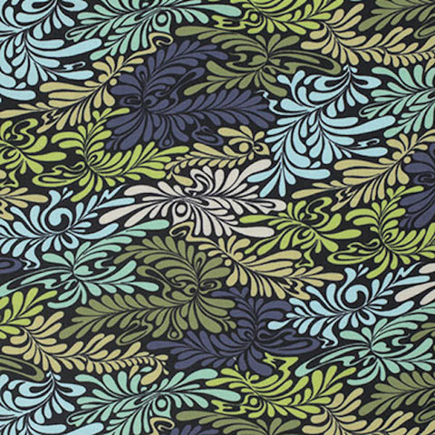 "Tula Pink PWTP057 Moonshine Camo Deluxe Indigo Quilting 18"" BTHY Rowan Westminster Half Yard Quilt Fabric Mod Tonal Camoflauge Moon Shine"