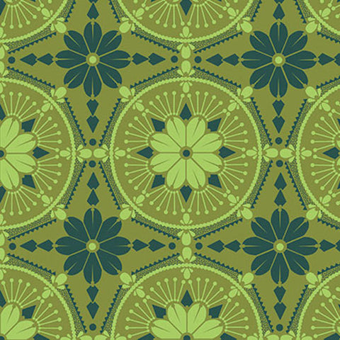 "Anna Maria Horner PWTC004 Medallion Emerald Green True Colors BTHY Half Yd 18"" Freespirit Quilting Quilt Sew Sewing Fabric"