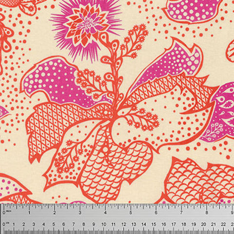"Anna Maria Horner PWTC031 Filigree Coral Floral True Colors BTHY Half Yd 18"" Freespirit Quilting Quilt Sew Sewing Fabric"