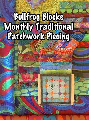 FROGS Bullfrogs Pieced Patchwork Fabric Block Kit Facebook Monthly Quilt-Along Club Quilt USA Pattern Sewing Quilting Project Subscription