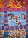 "Southwestern 36.5"" x 57"" ""His Painted Canvas"" Horses Horse Equine Equestrian Lap Quilt Throw with Hanging Sleeve Wallhanging"