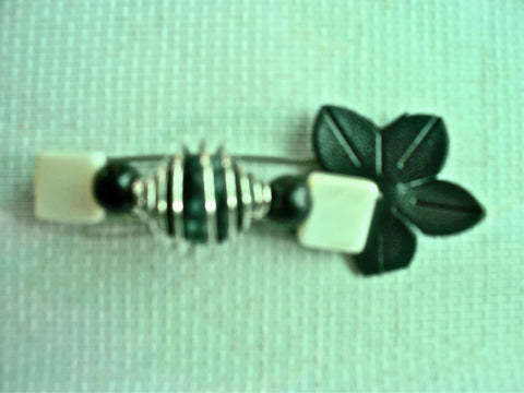 "Handmade ""Assymetrical Black 'n' White Beauty"" Beaded Pin Brooch w/ Leather Handcrafted Jewelry"