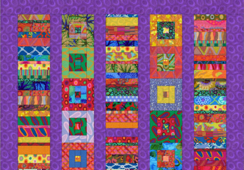 Club 1 Chinese Coins & Log Cabins Quilt Facebook Monthly Quilt-Along USA Kaffe Fassett Collective DESIGNER Fabric Block Kit Pattern FB Sew