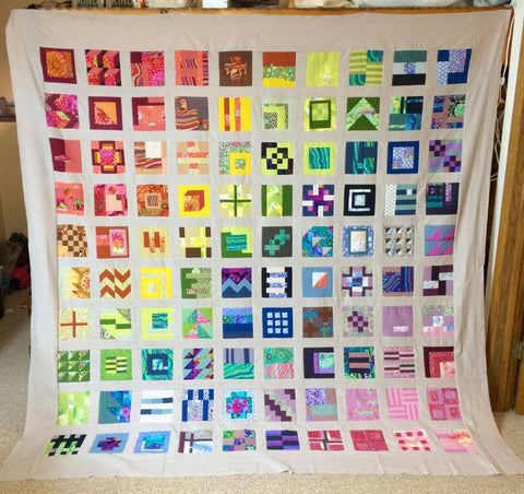 Quilt Book Club 12 Facebook Monthly Quilt-Along Tula Pink City Sampler 100 Modern Blocks USA Kaffe Fassett Collective Woven Fabric Block Kit