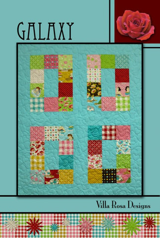 "GALAXY  40.5"" x 49.5"" Beginner Modern Patchwork Quilt Quilting Pattern 5"" Charm Square Scrap Friendly Villa Rosa Pat Fryer Beginner's MOD"