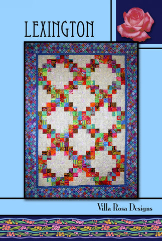 "LEXINGTON 54""x74"" Beginner JELLYROLL Modern Patchwork Quilt Quilting Pattern 2.5"" Friendly Villa Rosa Pat Fryer Beginner's MOD"