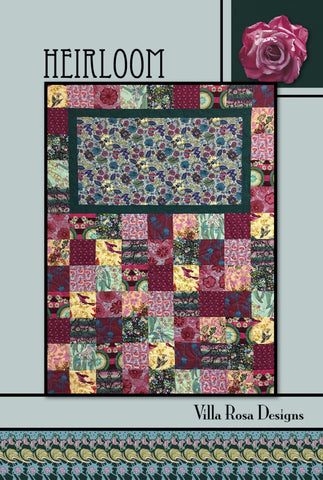 "HEIRLOOM 41"" x 54"" Beginner Modern Patchwork Quilt Quilting Pattern 5"" Charm Square Scrap Friendly Villa Rosa Pat Fryer Beginner's MOD"