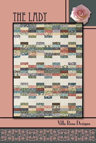 "THE LADY 54""x72"" Beginner Jellyroll Modern Patchwork Quilt Quilting Pattern 2.5"" Friendly Villa Rosa Pat Fryer Beginner's MOD"