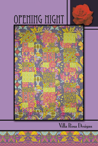 "OPENING NIGHT 53""x71"" Fat Quarter Scrap Friendly Beginner Patchwork Quilt Quilting Lap Throw size Pattern Villa Rosa Pat Fryer FQ"
