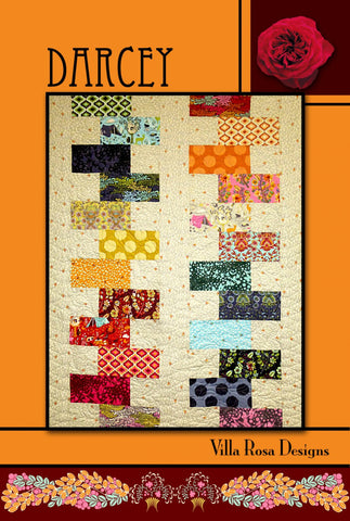 "DARCEY 42""X54"" Beginner FAT Sixth FQ Layer Cake Patchwork Quilt Quilting Pattern Fat Quarter Sixth Friendly  Villa Rosa Pat Fryer Beginner's"