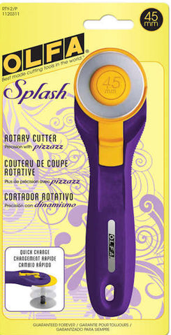 OLFA 45mm Emperor Splash Purple Rotary Cutter with Blade NIP Brand New Guaranteed for Life Quilting Cutting Tool Ergonomic Sewing Notion