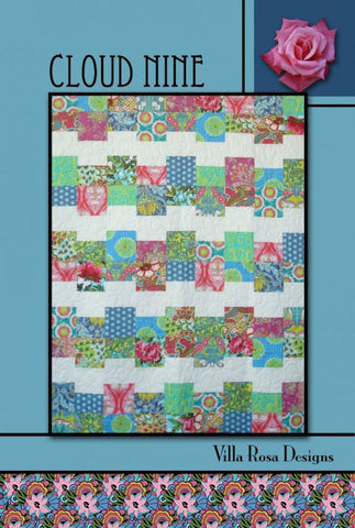 "CLOUD NINE 54""x70"" Fat Quarter Scrap Friendly Beginner Patchwork Quilt Quilting Lap Throw size Pattern Villa Rosa Pat Fryer FQ"