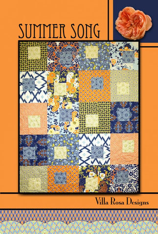 "SUMMER SONG 46""x58"" Fat Quarter Scrap Friendly Beginner Patchwork Quilt Quilting Lap Crib Throw size Pattern Villa Rosa Pat Fryer FQ"