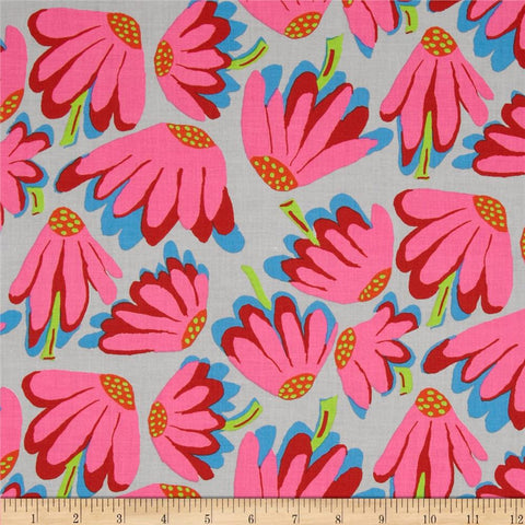 "Brandon Mably PWBM044 Lazy Daisy Grey Gray Floral Kaffe Fassett Collective Designer Quilting 18"" Rowan Half Yard 18"" Quilt Fabric"