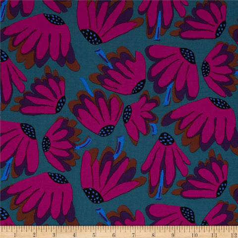 "Brandon Mably PWBM044 Lazy Daisy Charcoal Grey Gray Floral Kaffe Fassett Collective Designer Quilting 18"" Rowan Half Yard 18"" Quilt Fabric"