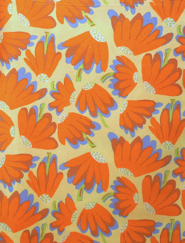 "Brandon Mably PWBM044 Lazy Daisy Yellow Orange Floral Kaffe Fassett Collective Designer Quilting 18"" Rowan Half Yard 18"" Quilt Fabric"