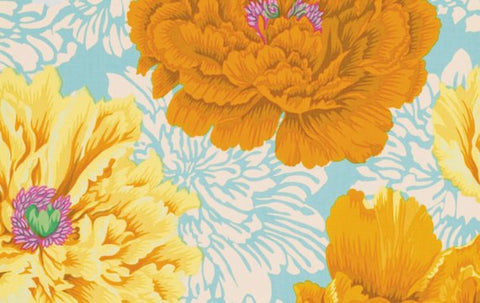 "Philip Jacobs PWPJ062 Brocade Peony Yellow Kaffe Fassett Collective Designer Quilting 18"" BTHY Rowan Westminster Half Yard 18"" Quilt Fabric"