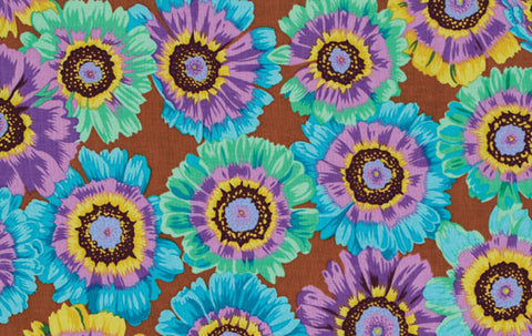 "Philip Jacobs PWPJ057 Painted Daisy Turquoise Kaffe Fassett Collective Designer Quilting 18"" HY Rowan Westminster Half Yard 18"" Quilt Fabric"