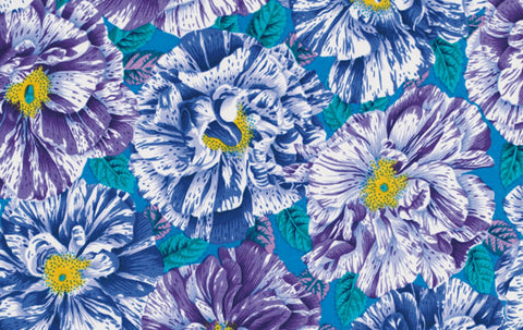 "Philip Jacobs PWPJ061 Bouffant Blue Floral Kaffe Fassett Collective Designer Quilting 18"" BTHY Rowan Westminster Half Yard 18"" Quilt Fabric"