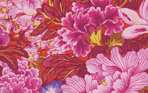 "Philip Jacobs PWPJ064 Lavinia RED Foral Kaffe Fassett Collective Designer Quilting 18"" BTHY Rowan Westminster Half Yard 18"" Quilt Fabric"