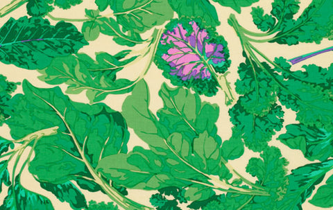 "Martha Negley PWMN065 Veggie Leaves Leaf Pastel Green Floral Quilting 18"" BTHY Nature Rowan Westminster Half Yard Quilt Fabric HY BHY"