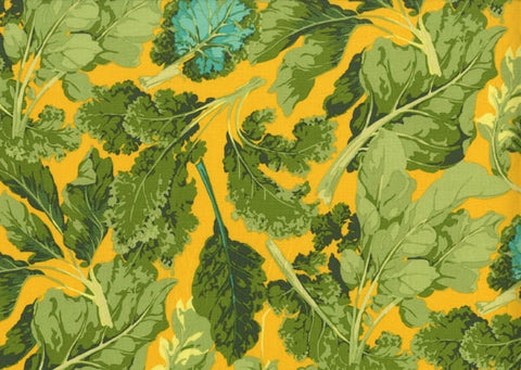 "Martha Negley PWMN065 Veggie Leaves Leaf Yellow Green Floral Quilting 18"" BTHY Nature Rowan Westminster Half Yard Quilt Fabric HY BHY"