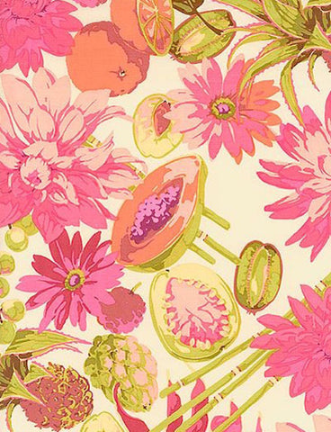 "Martha Negley PWMN063 Fruit & Floral Mix Pink Classics Quilting 18"" BTHY Nature Rowan Westminster Half Yard 18"" Quilt Fabric HY BHY Floral"