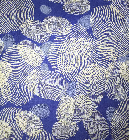 "Boys in Blue Maria Kalinowski Kanvas Finger Prints 4813 Blue Benartex Designer Quilting 18"" BTHY Half Yard Quilt Fabric HY Fingerprints -C"