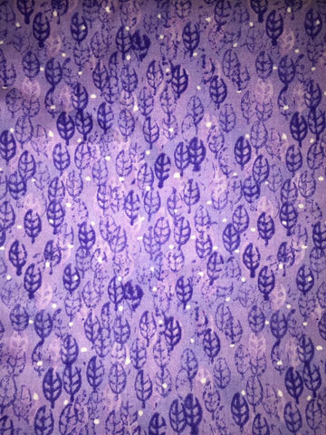 "Jo-Ann Store Purple Leaf Leaves Tonal Blender Vintage Print Designer Quilting 18"" BTHY Half Yard Quilt Fabric HY Retired New"
