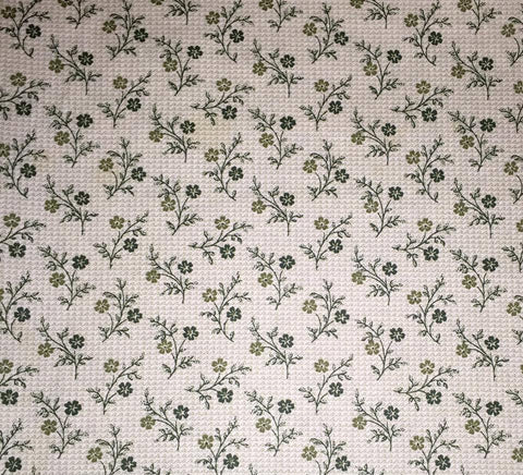 "Dark Green Cottage Chic Paris Apt Repro Reproduction Tonal Blender Print Floral Designer Quilting 18"" BTHY Half Yard 18"" Quilt Fabric HY"