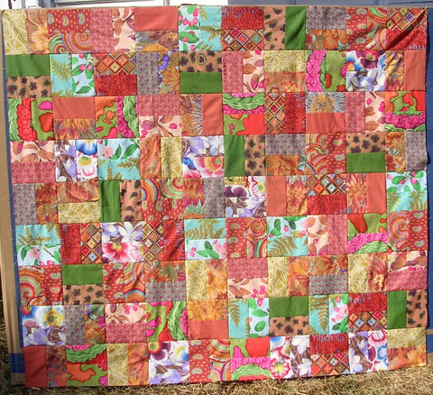 "SALE Hot Tamale Kaffe Fassett 54""x60"" Patchwork EASY Quilt Top In A DAY Quilting Fabric Kit Binding Brandon Mably Philip Jacobs Negley Woven"