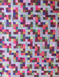 "Dublin 54""x66"" Kaffe Fassett Collective Classics Shot Cotton Patchwork EASY FAST Quilt Top In A DAY Kit 2.5"" strips w/ Binding fabric"