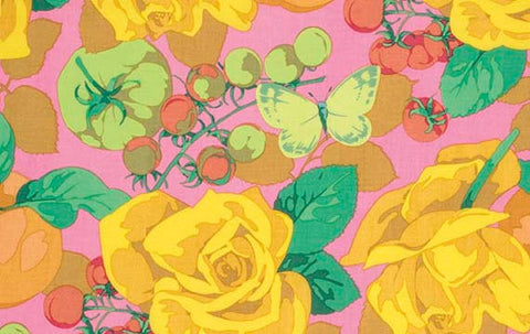 "Martha Negley PWMN092 Seasons Summer Pink Rose Yellow Floral Quilting 18"" BTHY Nature Rowan Westminster Half Yard 18"" Quilt Fabric HY BHY"