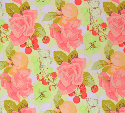 "Martha Negley PWMN092 Seasons Summer Pastel Rose Roses Floral Quilting 18"" BTHY Nature Rowan Westminster Half Yard 18"" Quilt Fabric HY BHY"