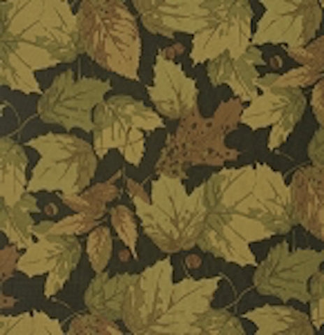 "Martha Negley PWMN089 Seasons Olive Brown Black Leaves Fall Leaf Quilting 18"" BTHY Nature Rowan Westminster Half Yard Quilt Fabric HY BHY"