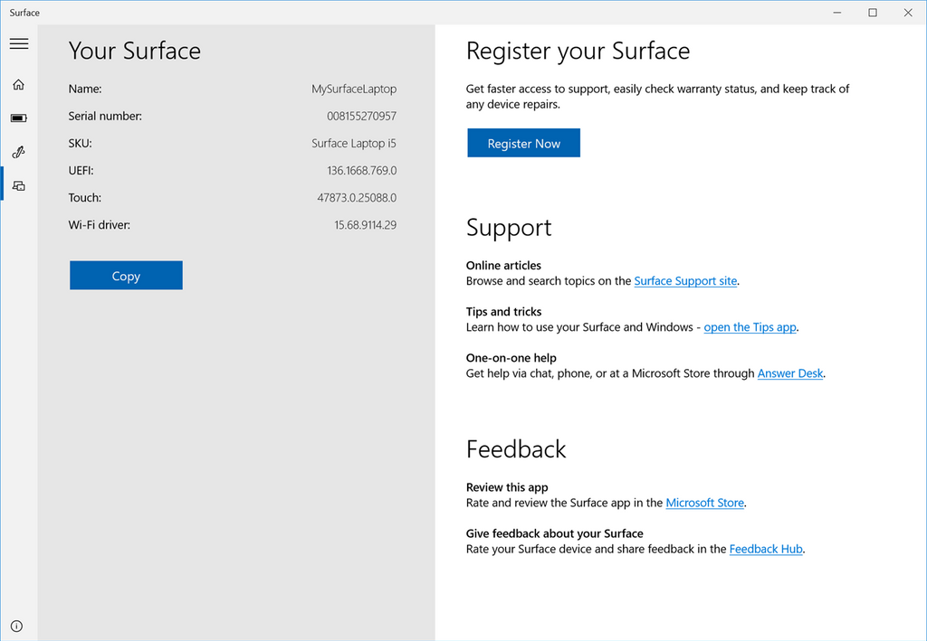 serial number location on surface pro 4