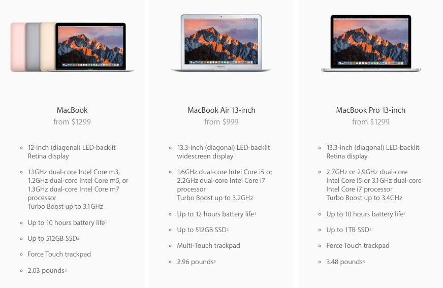 apple macbook macbook air macbook pro comparison