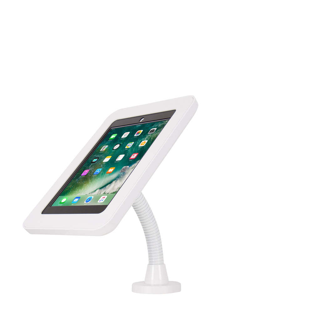 kiosks - Elevate II Flex Drill Down Countertop Mount Kiosk for iPad 9.7 6th | 5th Generation | Air (White) - The Joy Factory