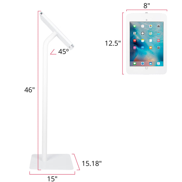 kiosks - Elevate II Floor Stand Kiosk for iPad Pro 12.9 (White) - The Joy Factory