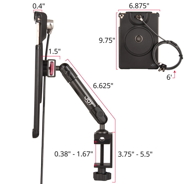 MagConnect C-Clamp Mount w/ LockDown for iPad Pro 9.7, Air 2 (Cable Lock Included) - The Joy Factory