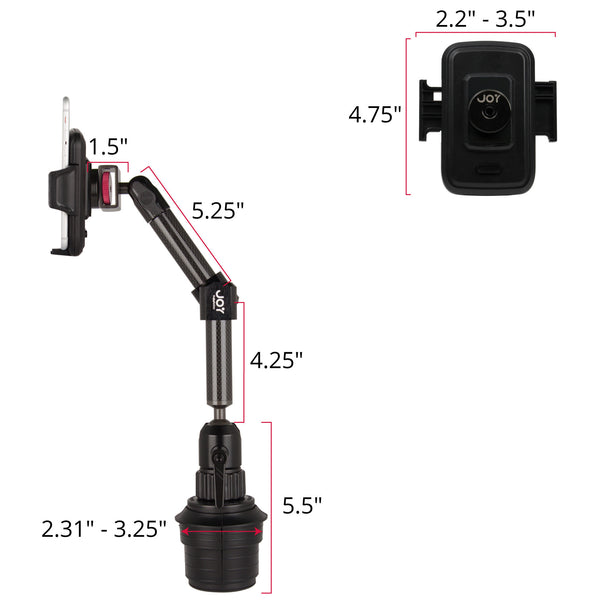 "- MagConnect Universal S1 Cup Holder Mount for Smartphone 2.25"" - 3.5"" in width - The Joy Factory"