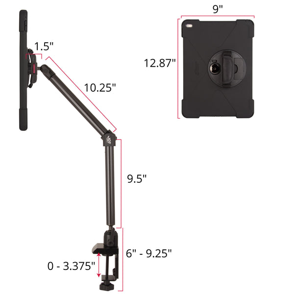 iPad clamp mount with rugged case