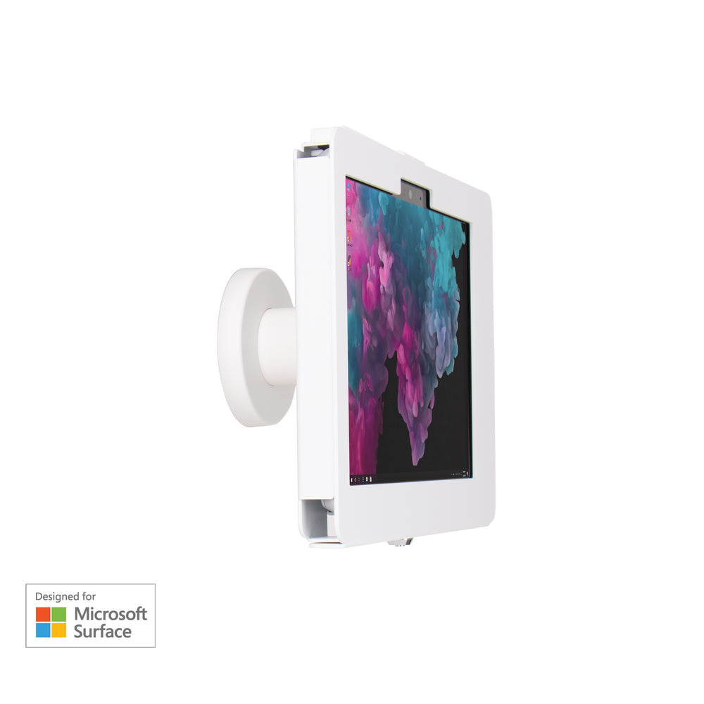 kiosks - Elevate II On-Wall Mount Kiosk for Surface Go (White) - The Joy Factory
