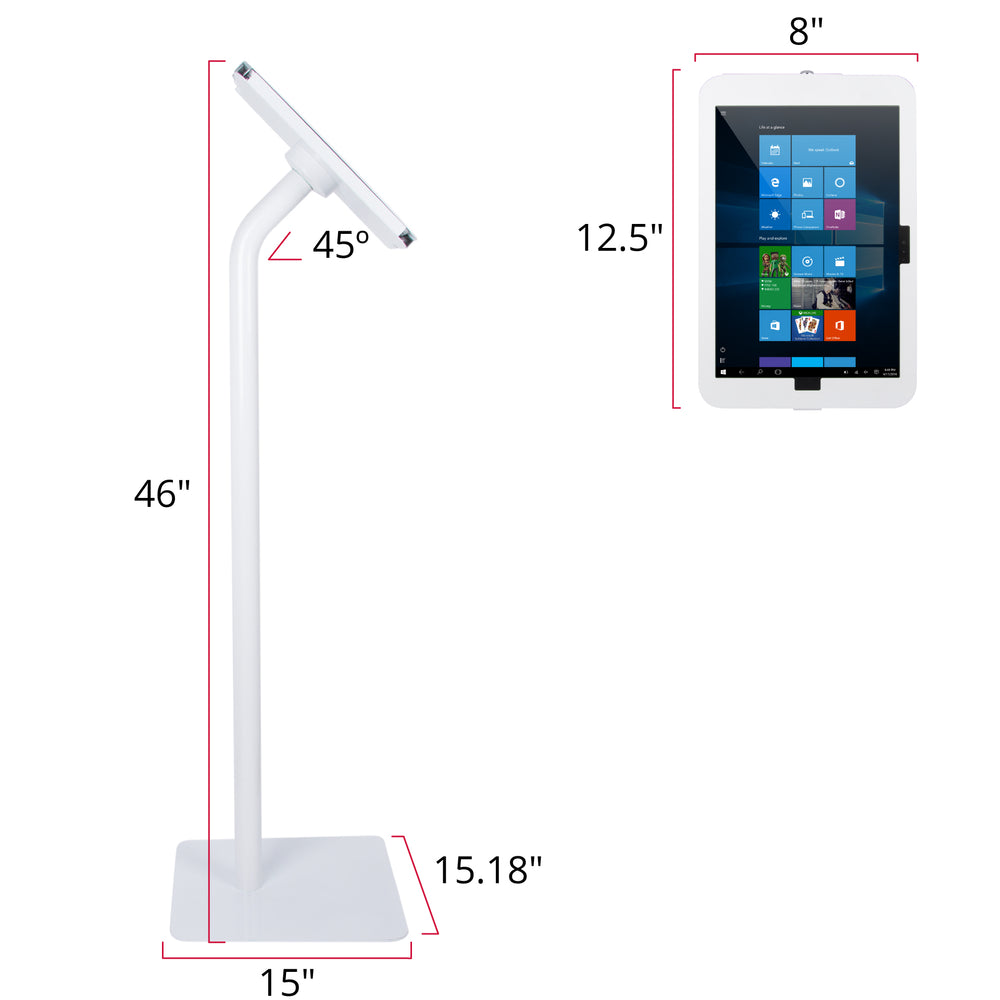 kiosks - Elevate II Floor Stand Kiosk with Secure Enclosure for Surface Pro 6 | 5 | 4 | 3 (White) - The Joy Factory