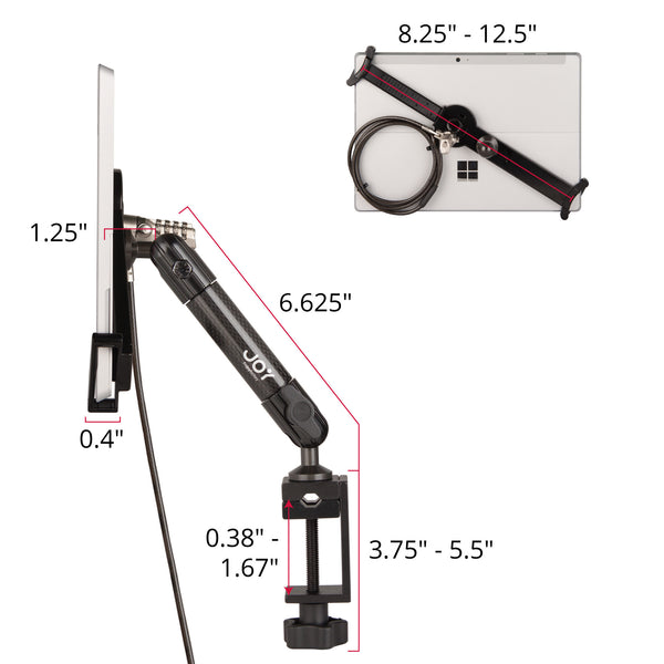 "LockDown Universal C-Clamp Mount w/ Combination Lock for 7"" - 10.1"" Tablets - The Joy Factory"