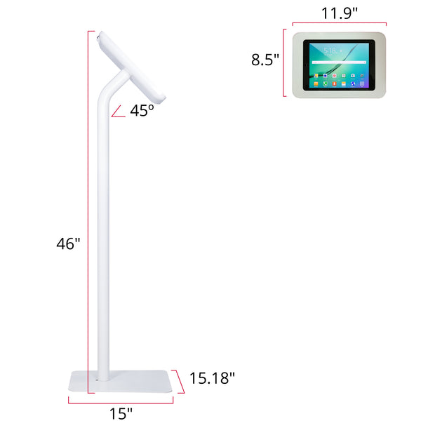 Elevate II Floor Stand Kiosk for Galaxy Tab S2 9.7 (White) - The Joy Factory - 1
