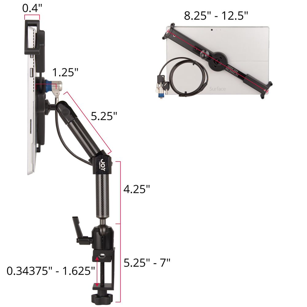 mount-bundles - LockDown Universal C-Clamp Dual Arm Mount with Key Cable Lock for 10