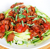 Eggplant Bolognese with Zucchini Noodles (Low Carb)