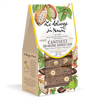 Hazelnut, Gianduia & Cocoa Cantucci (Biscotti) in Gift Box, 7.05 oz (200 gr)